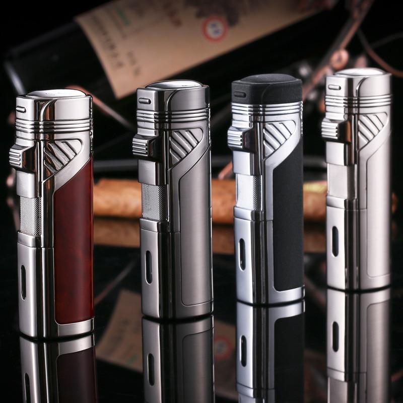 Four-Flame-Cigar-Torch-Lighter-Refillable-Butane-Gas-Lighter-Windproof-Kerosene-Jet-Lighter-Spray-Gun-Metal