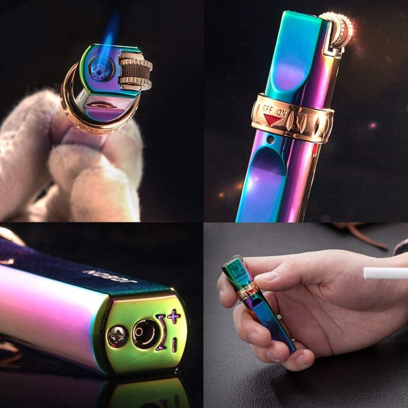 JOBON-Stripe-Gas-Torch-Lighter-Jet-Windproof-Metal-lighter-Stripe-Flint-Lighter-1300-C-Butane-Cigar